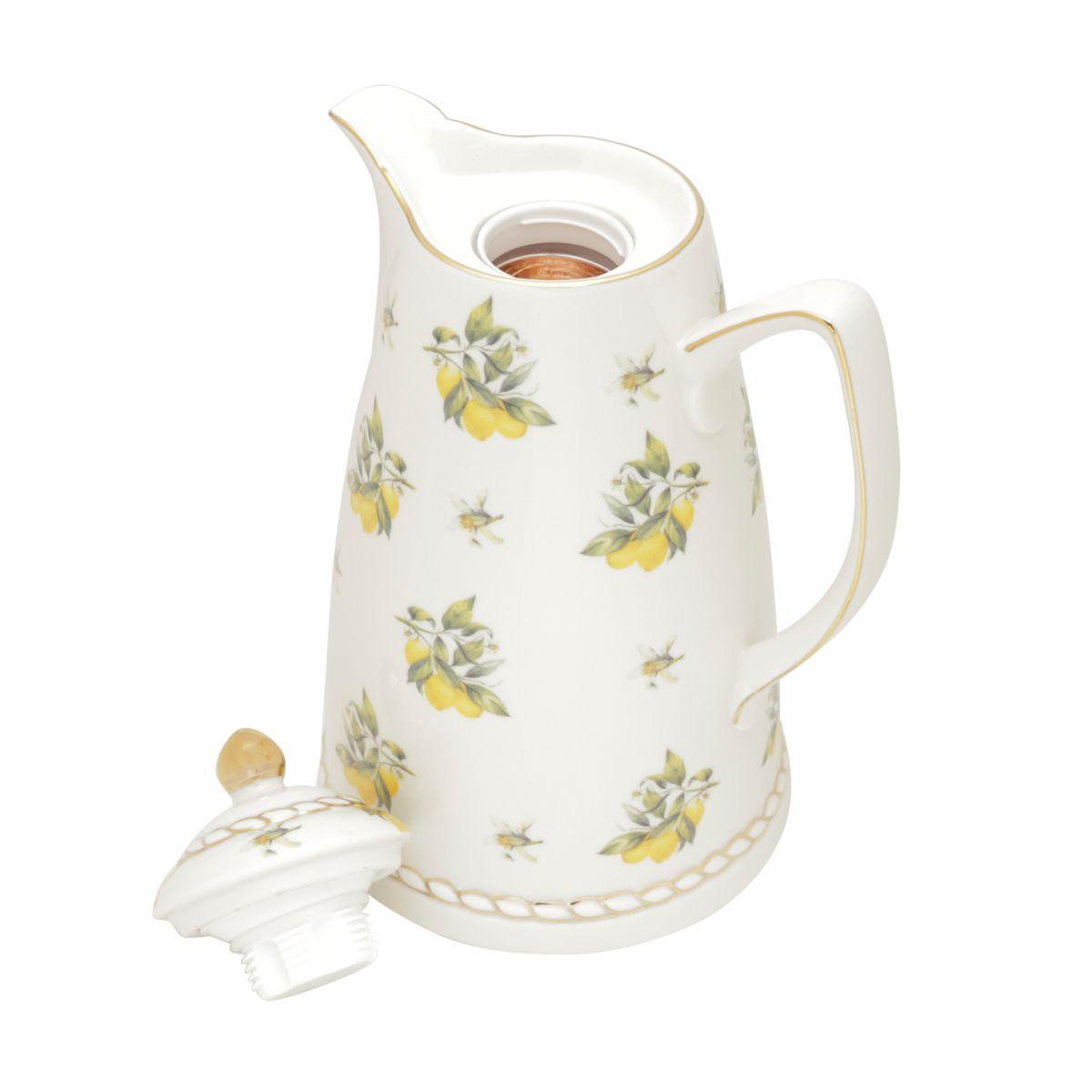 Garrafa Térmica 900ml para café ou chá de porcelana branca Lemon Wolff - 35494