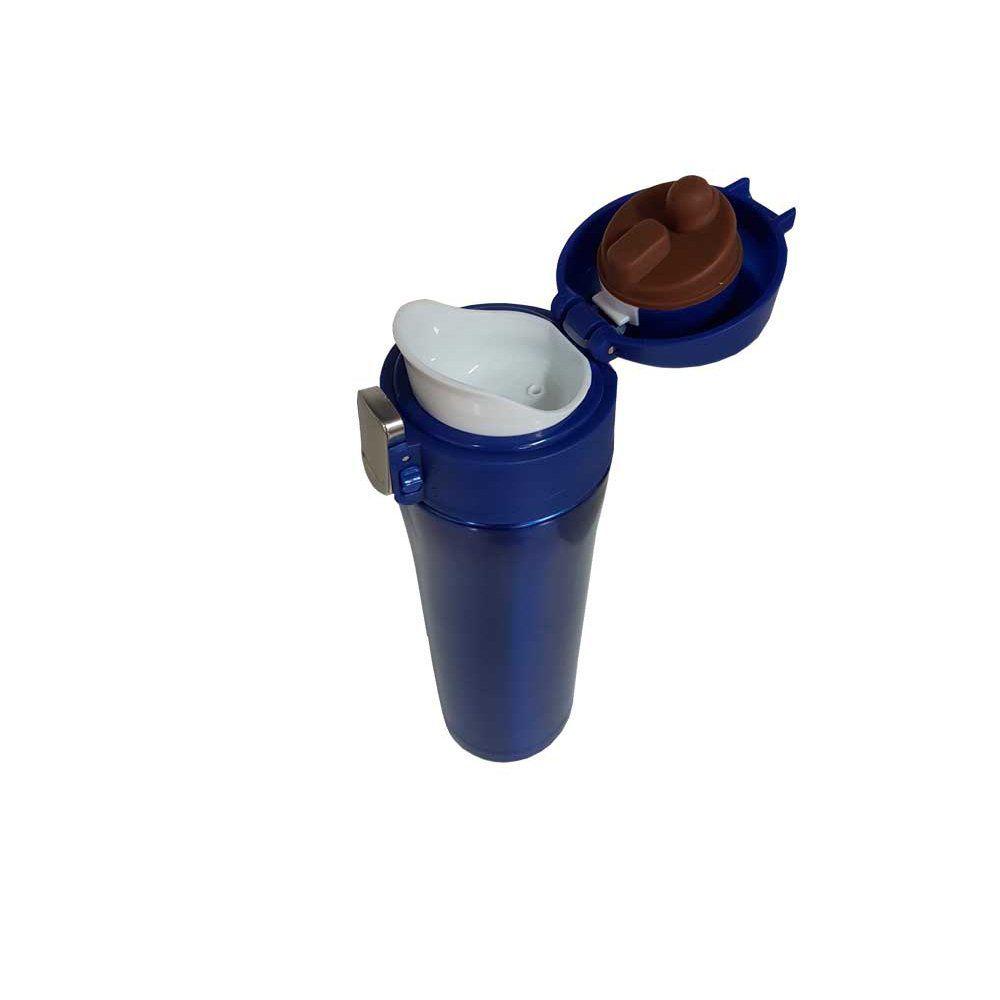 Garrafa térmica portátil 450ml de aço inox azul com trava Vacuum Pontual - P143275A