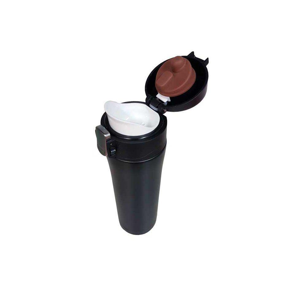 Garrafa térmica portátil 450ml de aço inox preto com trava Vacuum Pontual - P143275P