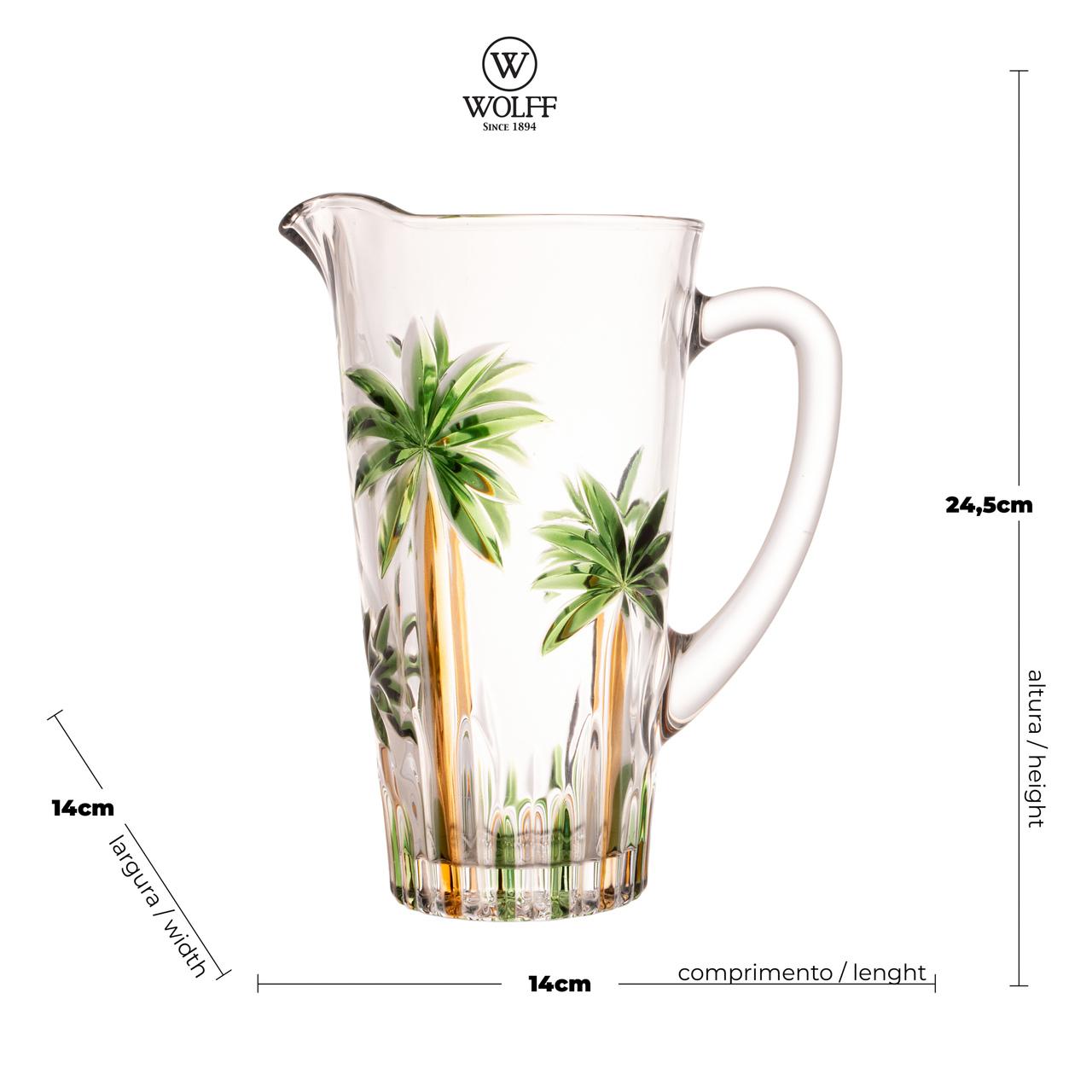 Jarra 1,2 L de cristal de chumbo Palm Tree Handpaint Wolff - 28150