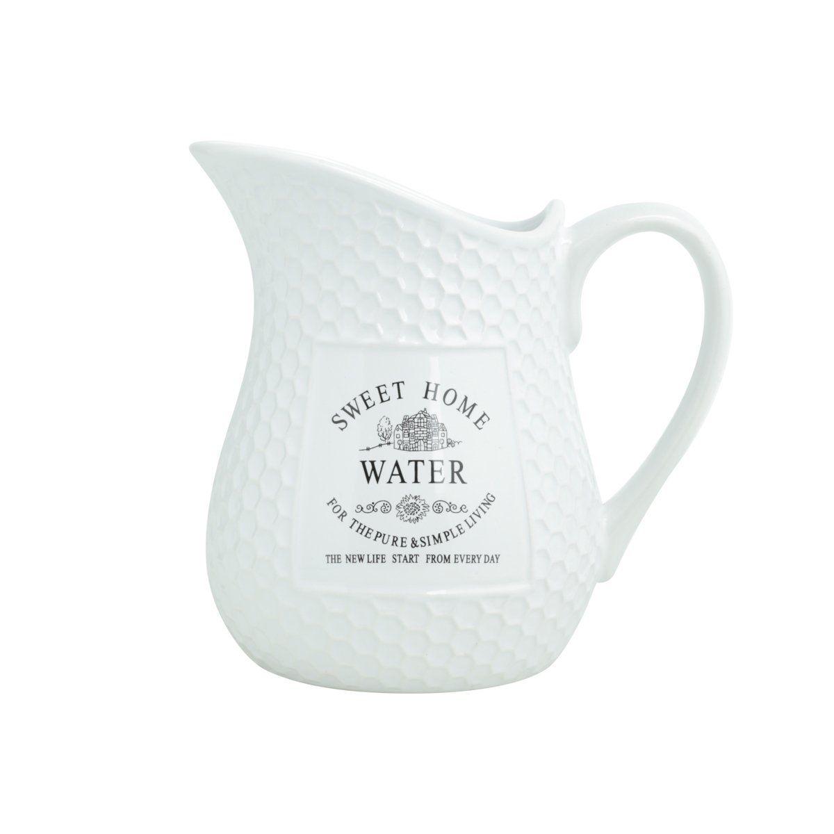 Jarra 1,25 litro para água de porcelana branca Sweet Home Bon Gourmet - 27447