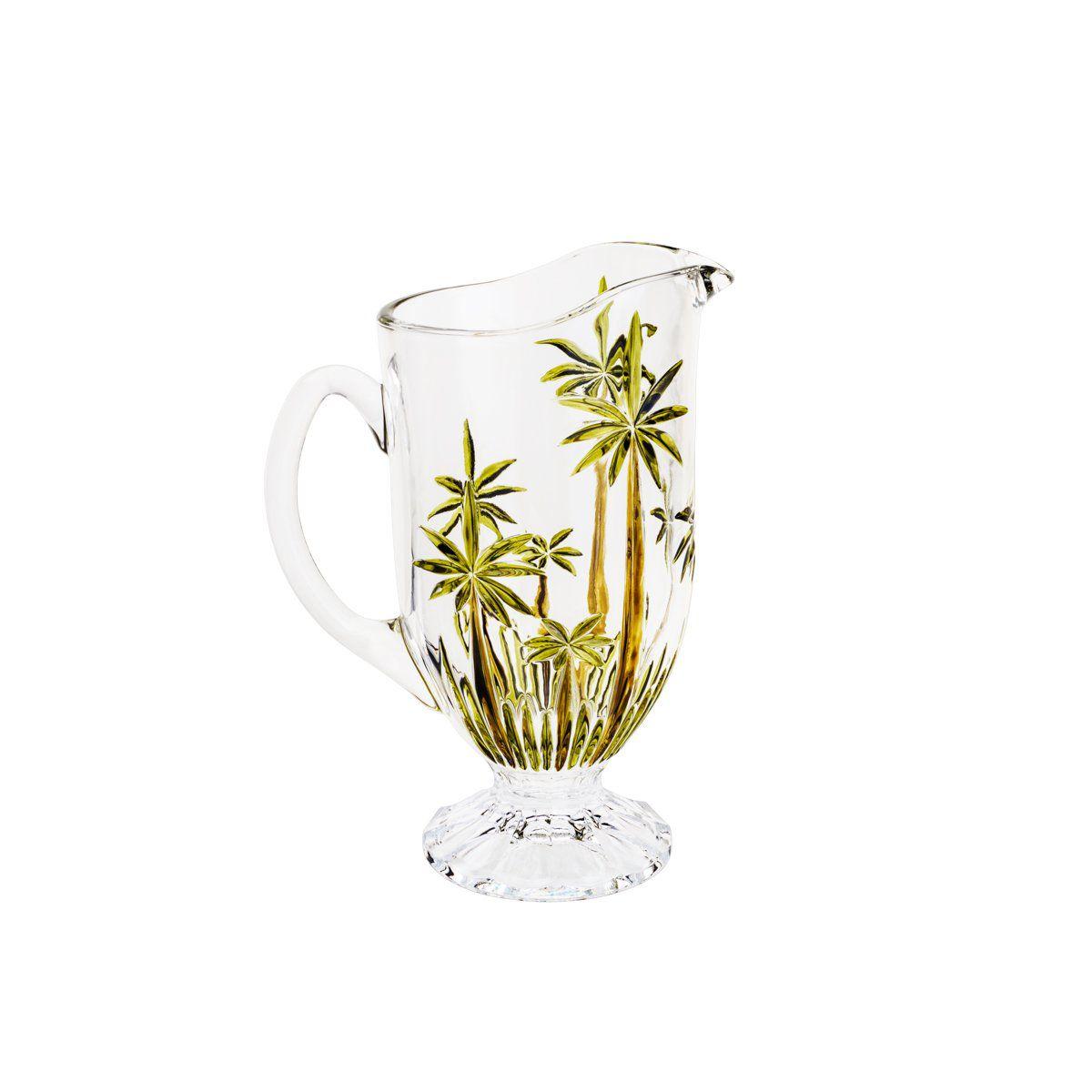 Jarra 1,5 litro para água ou suco de cristal Palm Tree Sprayed Wolff - 27439