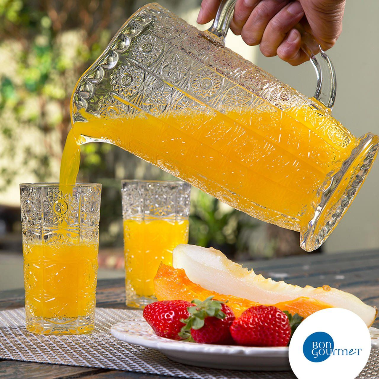 Conjunto Jarra 1,38 litros + 6 copos 260ml de vidro transparente Starry Bon Gourmet - 25817
