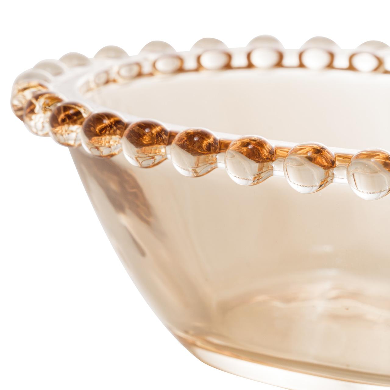 Jogo 2 bowls 15 cm para sobremesa de cristal âmbar Pearl Wolff - 28398