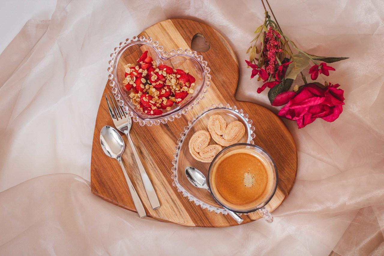 Jogo 2 bowls 15 cm para sobremesa de cristal coração Pearl Wolff - 28376