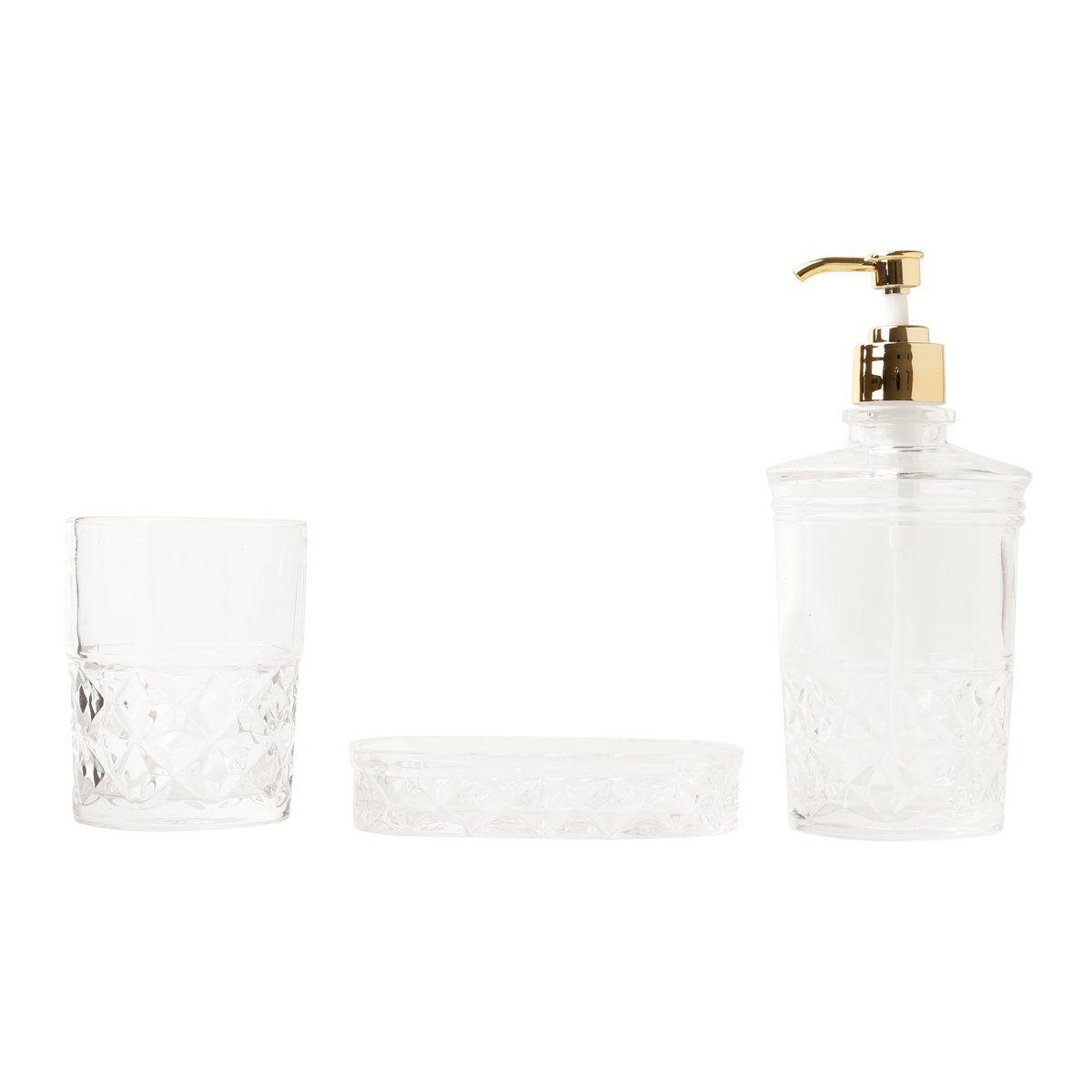 Jogo 3 peças para banheiro de vidro transparente Royal Bon Gourmet  25822
