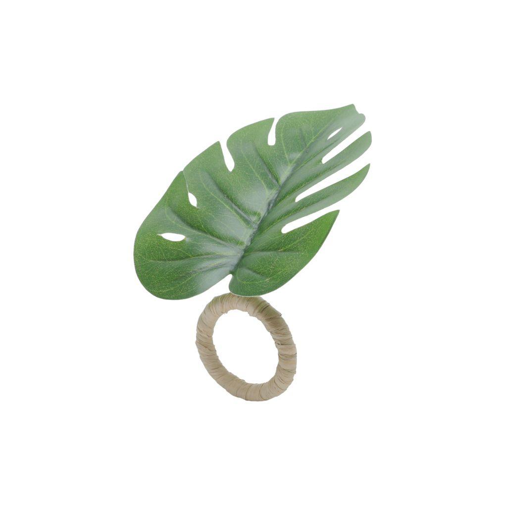 Jogo 4 anéis para guardanapo 12 cm de plástico Folha Verde Lyor - L7362