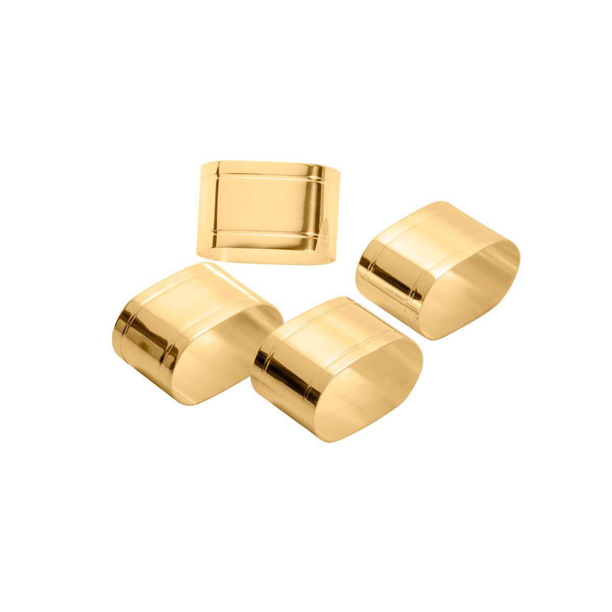 Jogo 4 anéis para guardanapo de aço dourado Elegance Wolff - 87887