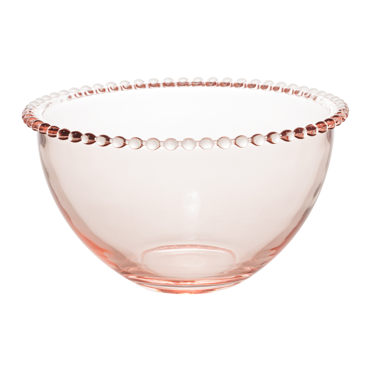 Jogo 4 bowls 14 cm para sobremesa de cristal rosa Pearl Wolff - 28442