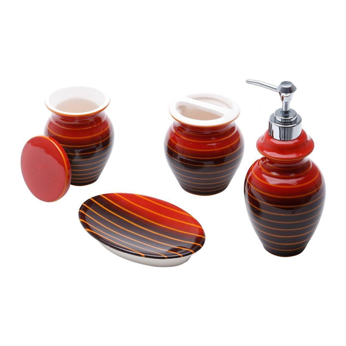 Jogo 4 peças para banheiro de cerâmica vermelho e preto Vertigo  Prestige - 25732