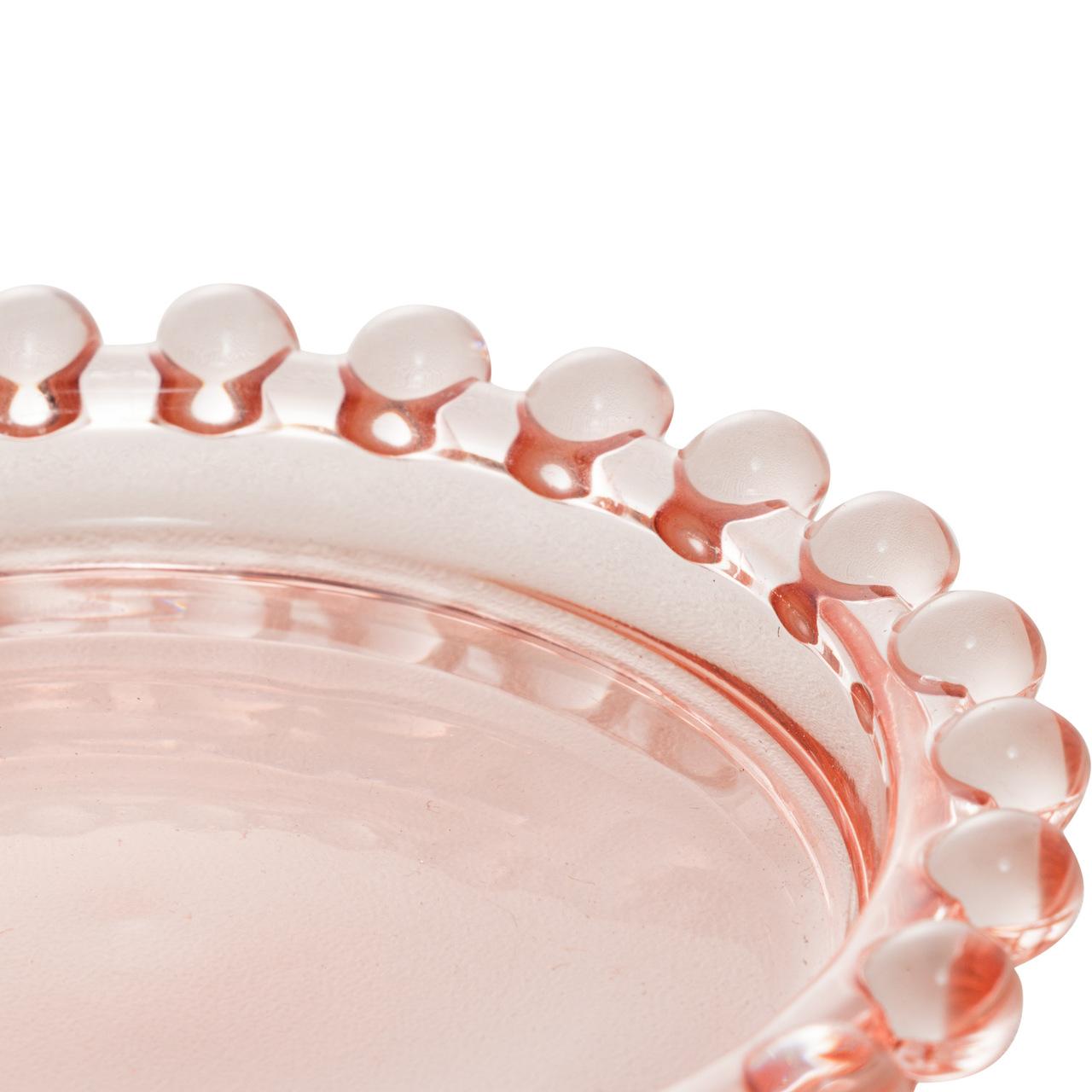 Jogo 4 pratos 10 cm para sobremesa de cristal rosa Pearl Wolff - 28444