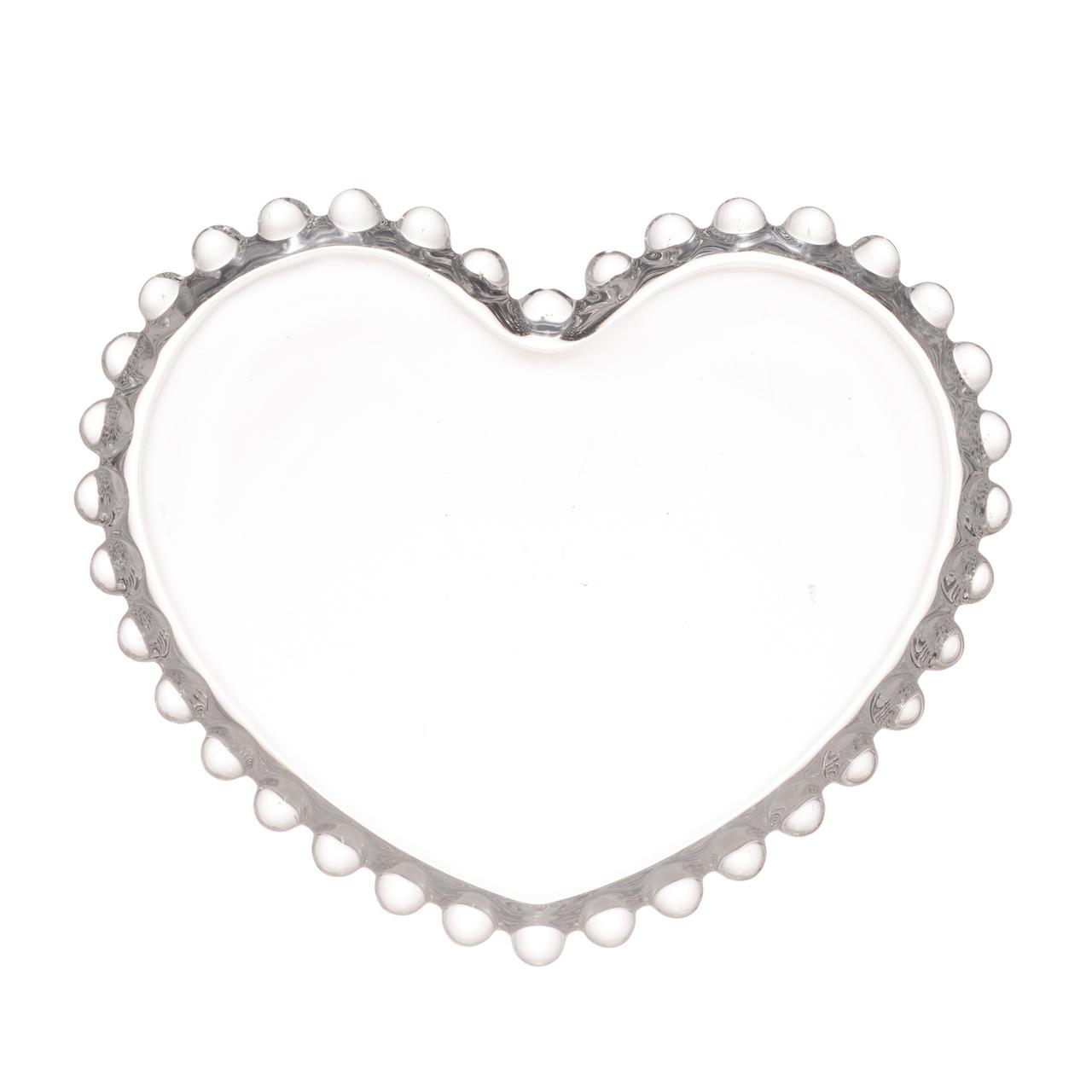 Jogo 4 pratos 12 cm  para sobremesa de cristal coração Pearl Wolff - 28370