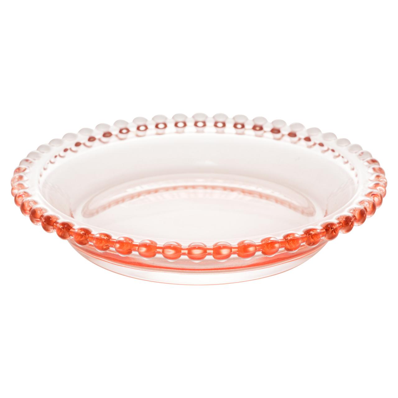 Jogo 4 pratos 14 cm para sobremesa de cristal rosa Pearl Wolff - 28439