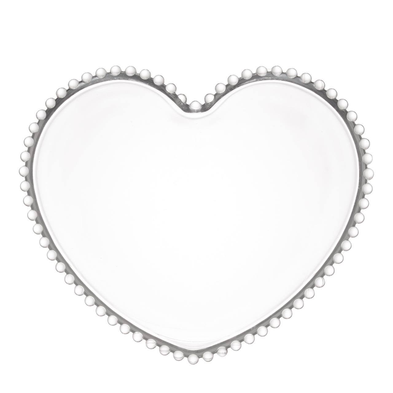 Jogo 4 pratos 18 cm  para sobremesa de cristal coração Pearl Wolff - 28371