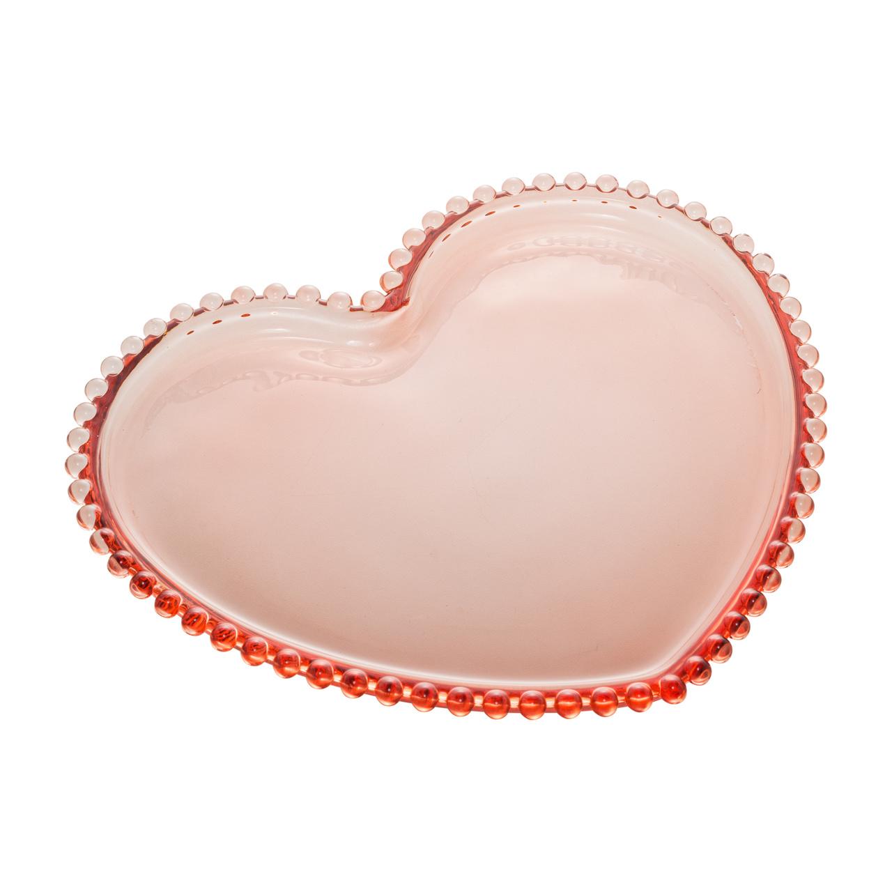 Jogo 4 pratos 18 cm  para sobremesa de cristal rosa coração Pearl Wolff - 28451