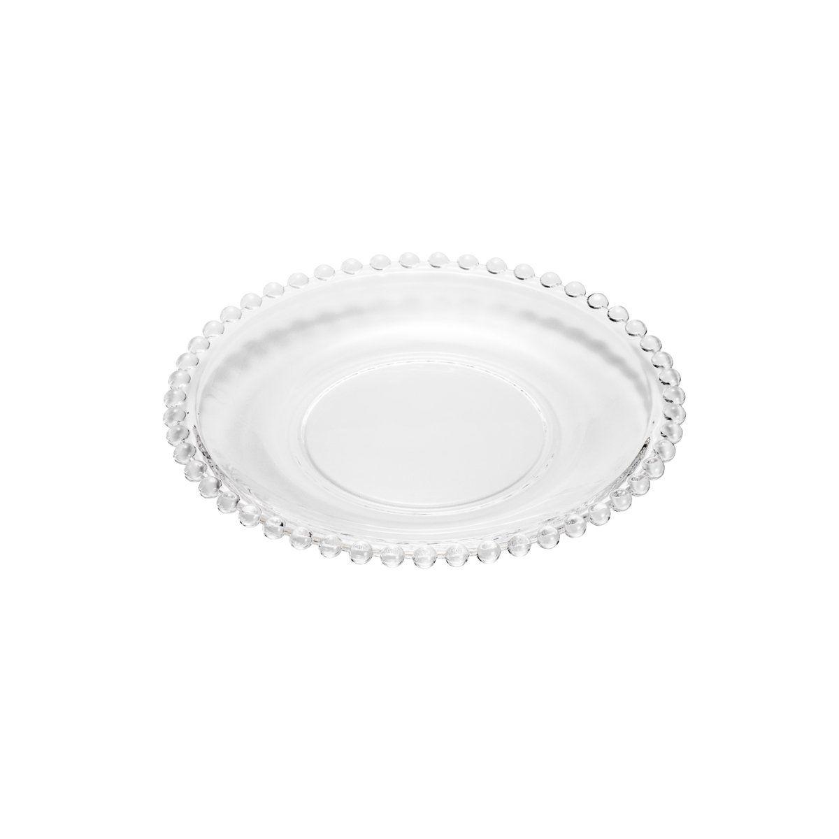 Jogo 4 pratos 19 cm para sobremesa de cristal transparente Pearl Wolff - 2672