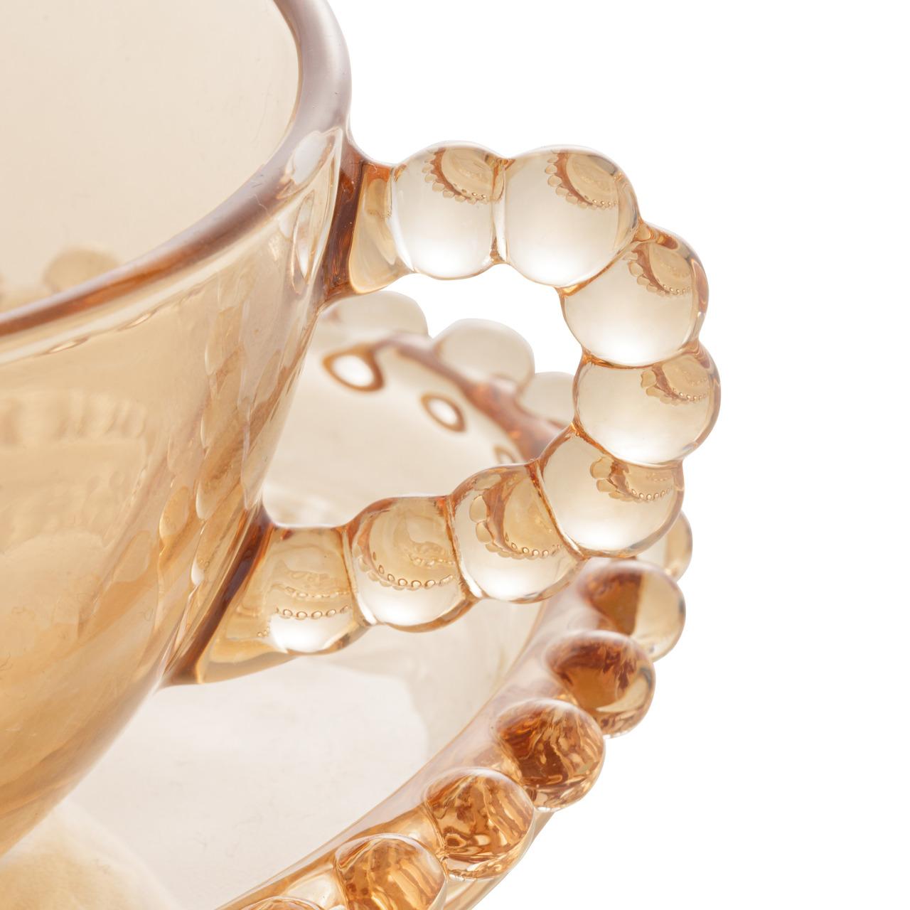 Jogo 4 xícaras 180ml para chá de cristal âmbar coração com pires Pearl Wolff - 28403