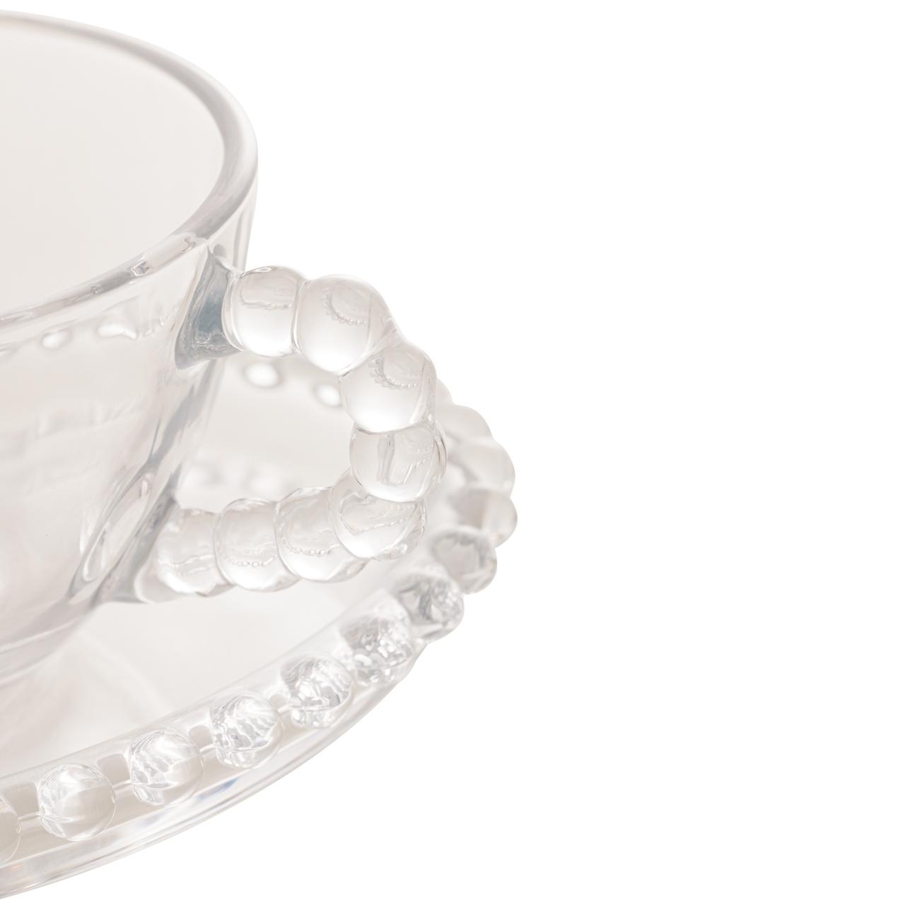Jogo 4 xícaras 180ml para chá de cristal coração com pires Pearl Wolff - 28381