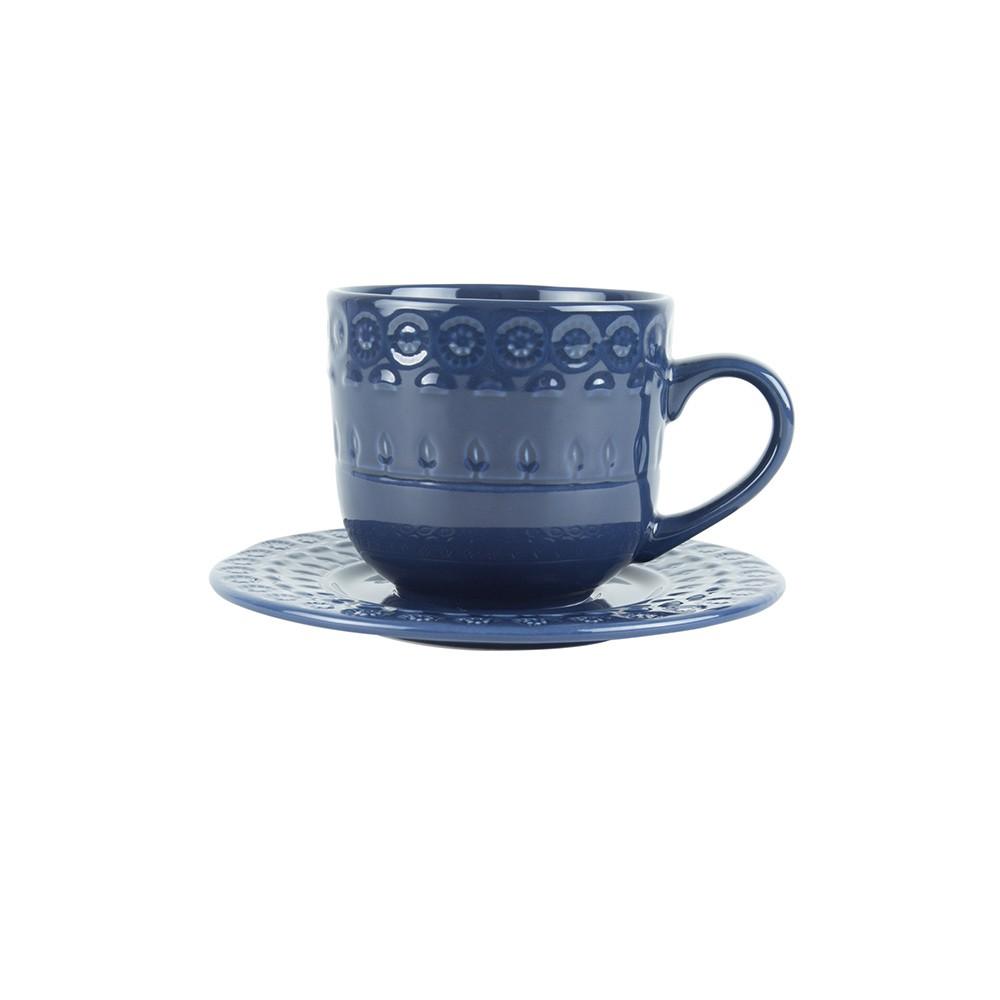 Jogo 4 xícaras 250ml para chá de porcelana azul com pires Grace Wolff - 17565