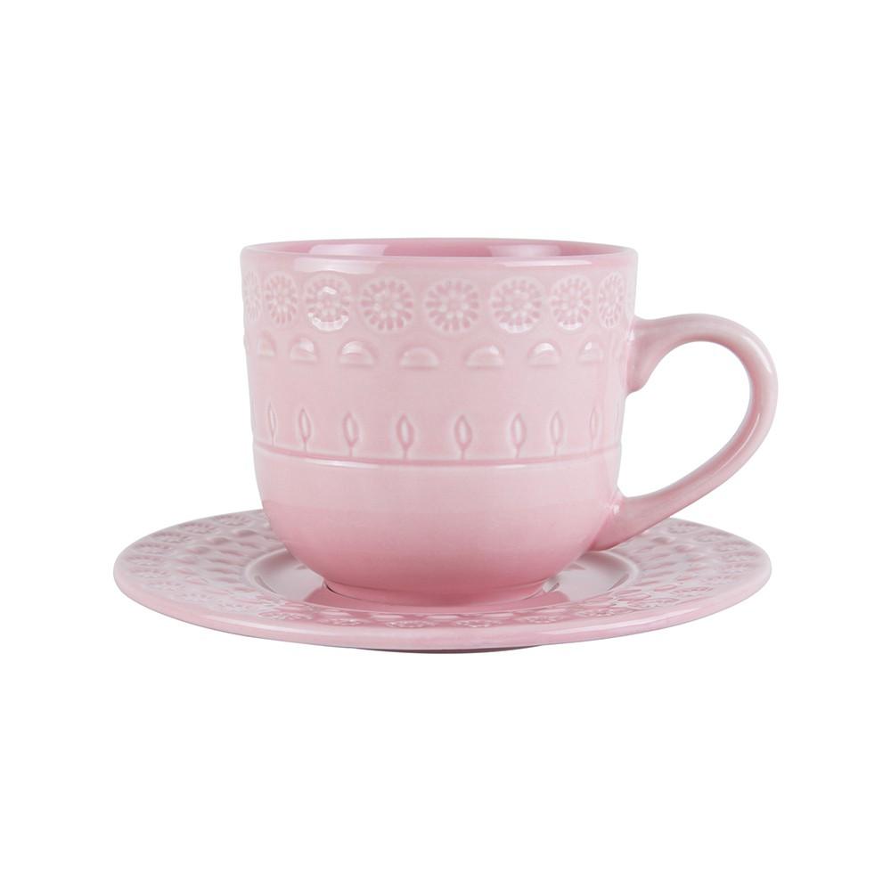 Jogo 4 xícaras 250ml para chá de porcelana rose com pires Grace Wolff - 17572