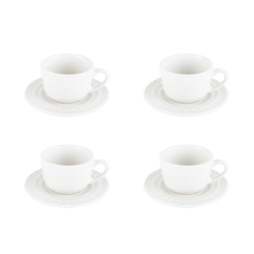 Jogo 4 xícaras 80ml para café de porcelana branco com pires Grace Wolff - 17578