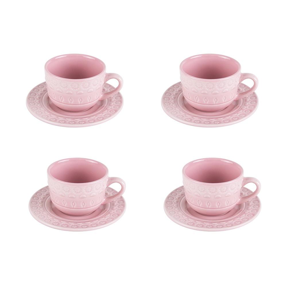 Jogo 4 xícaras 80ml para café de porcelana rose com pires Grace Wolff - 17571