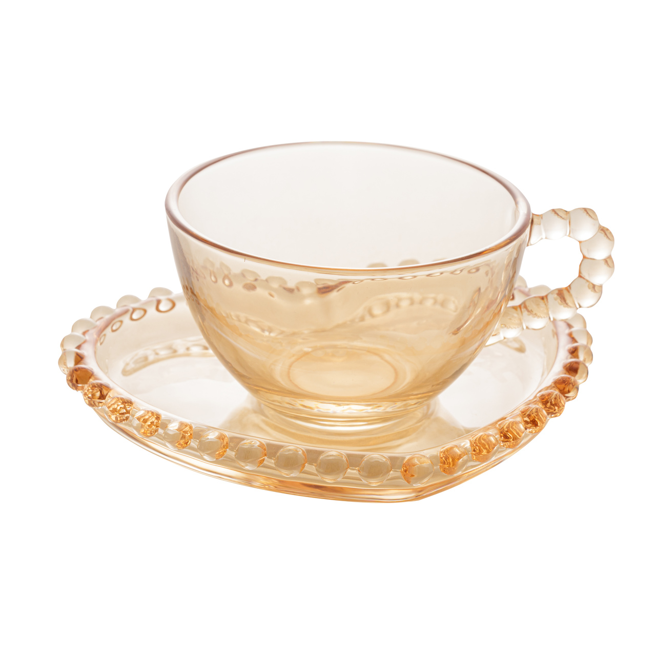 Jogo 4 xícaras 85ml para café de cristal âmbar com pires Pearl Wolff - 28405