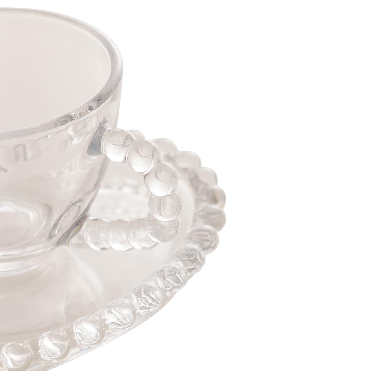 Jogo 4 xícaras 85ml para café de cristal coração com pires Pearl Wolff - 28383