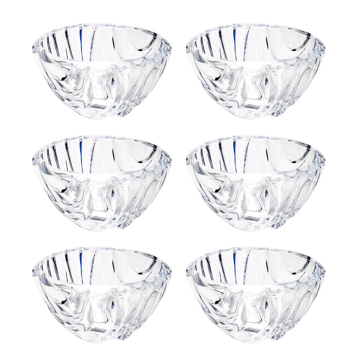 Jogo 6 bowls 11,5 cm para sobremesa de cristal transparente Bamboo Wolff - 26296