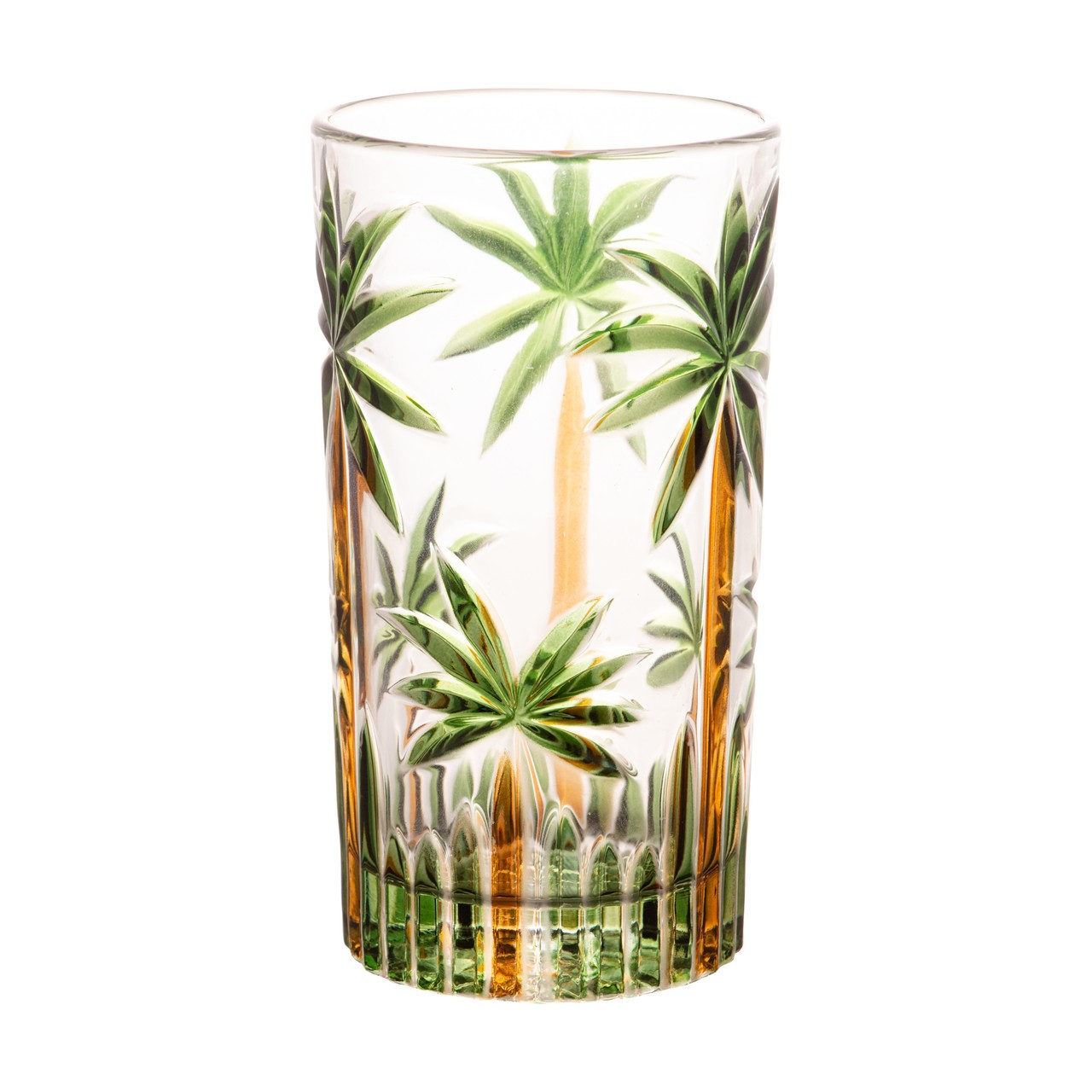 Jogo 6 copo altos 360ml de cristal de chumbo Palm Tree Handpaint Wolff - 28149
