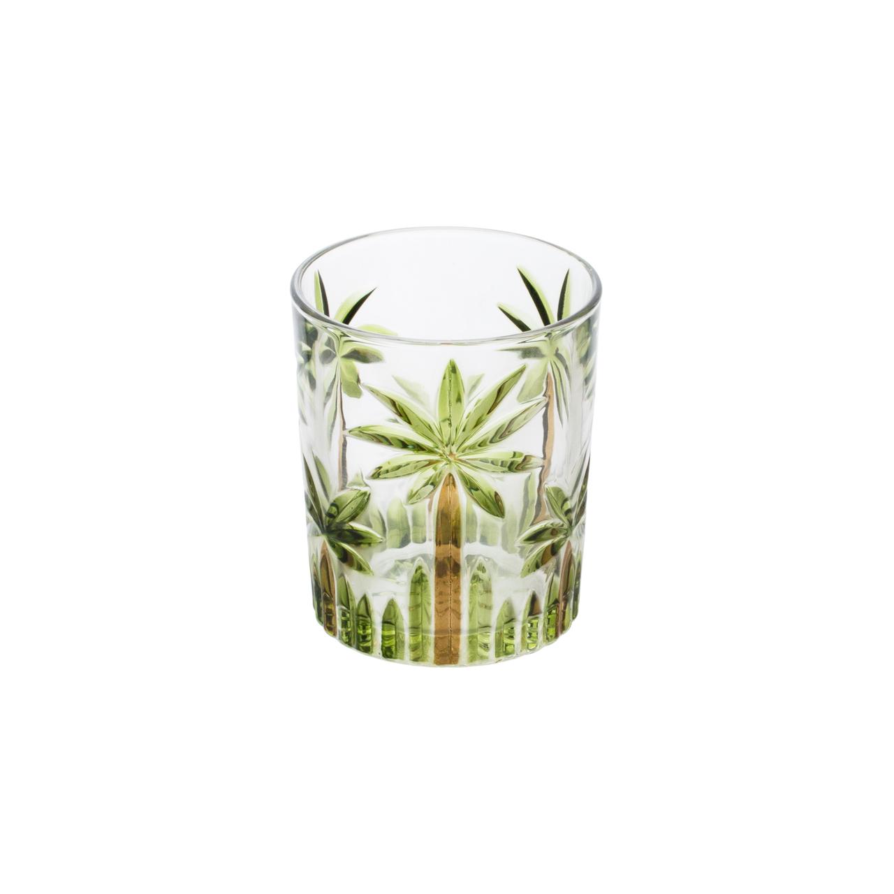 Jogo 6 copo baixos 340ml de cristal de chumbo Palm Tree Handpaint Wolff - 27773