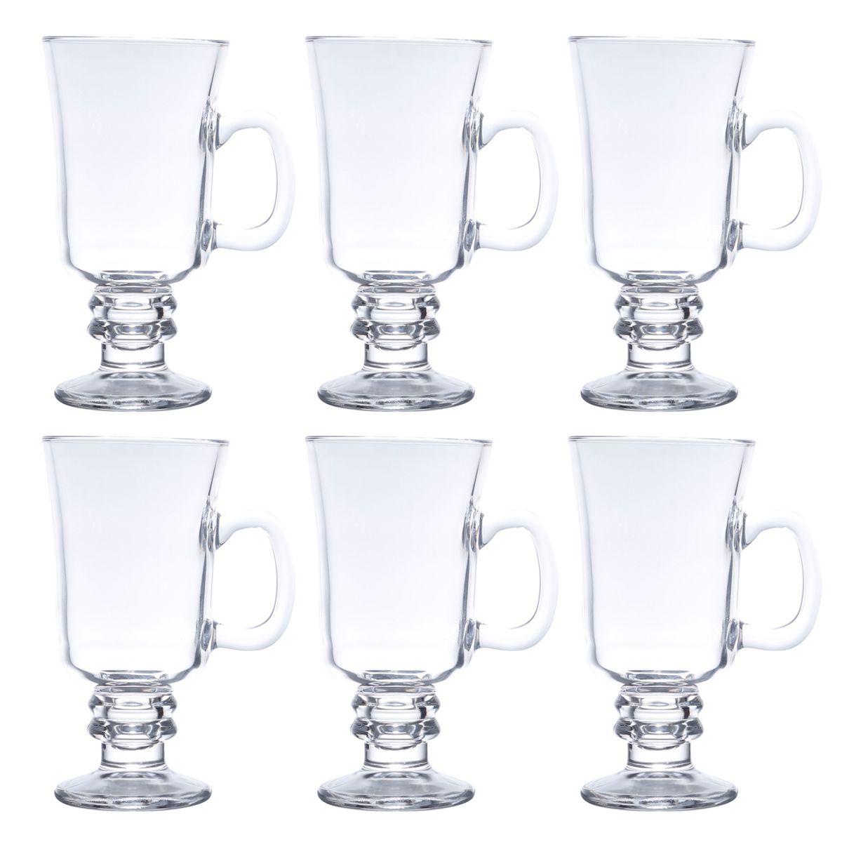 Jogo 6 copos 295ml para cappuccino e café de vidro transparente com alça e pé Lyor - L6614