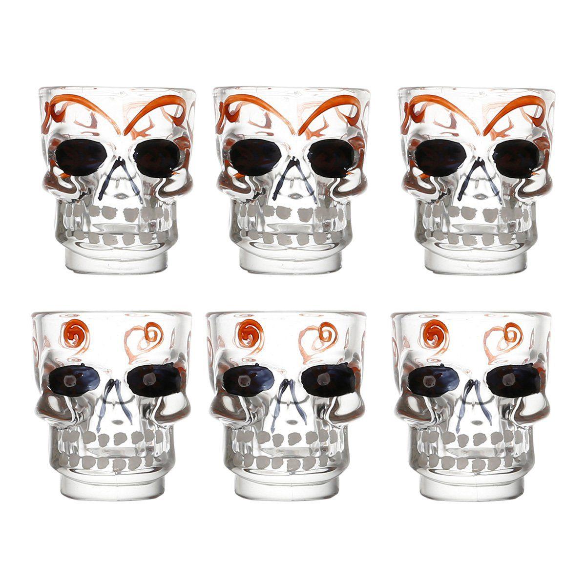 Jogo 6 copos 50ml para shot de vidro transparente Caveira Bon Gourmet - 25157