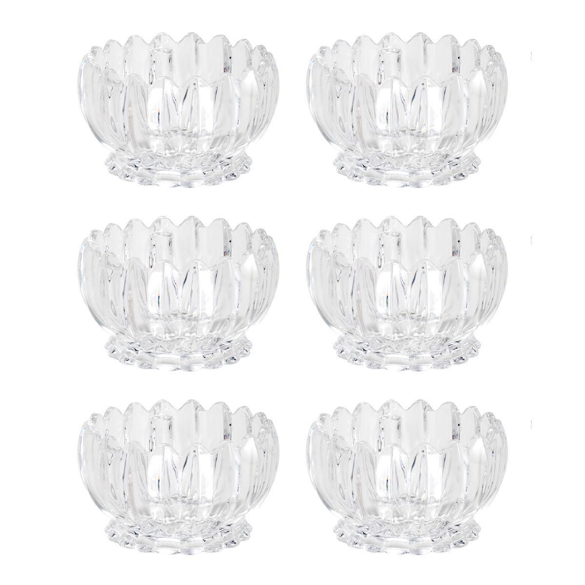 Jogo 6 bowls 11 cm para sobremesa de cristal transparente Geneva Wolff - 25849