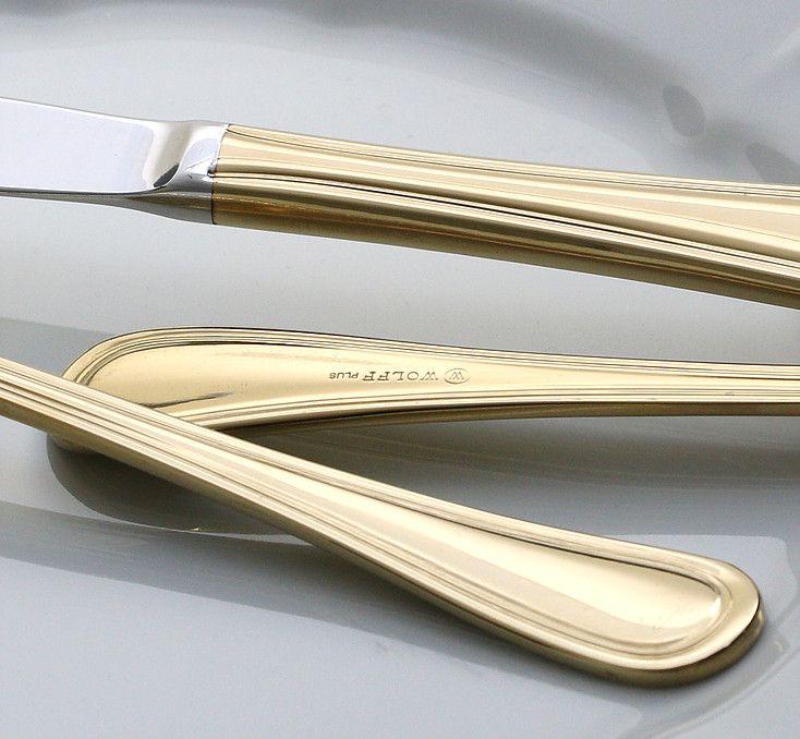 Jogo 6 peças garfo de sobremesa em PVD dourado Avalon Wolff - 71312