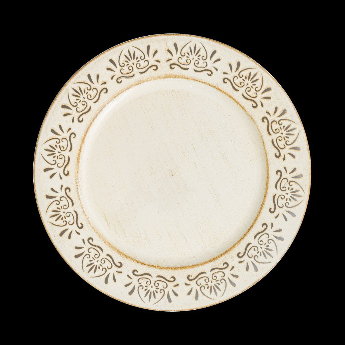 Jogo 6 peças Sousplat 33 cm de plástico creme Cook Bon Gourmet - 30294