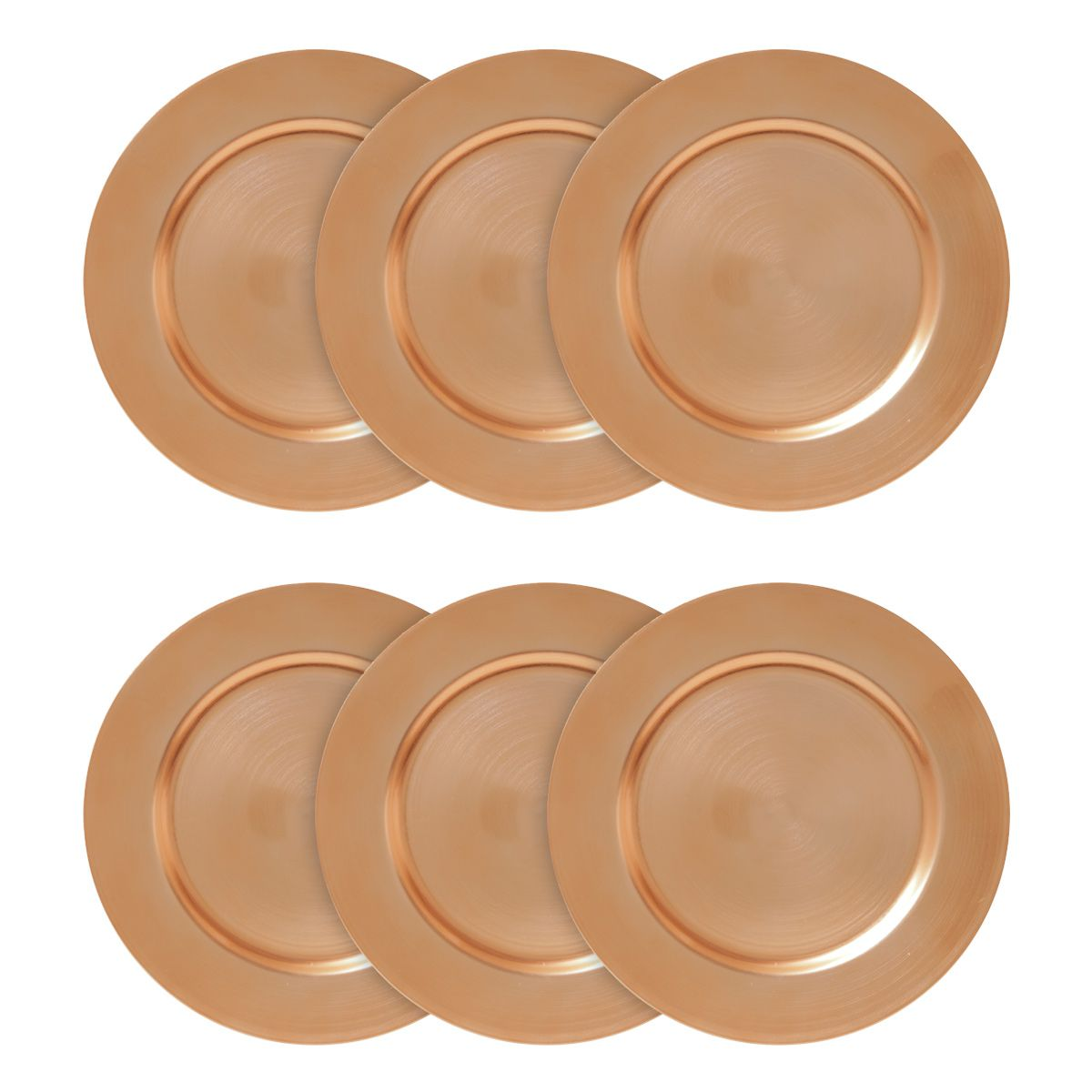 Jogo 6 peças Sousplat 33 cm de plástico dourado Opala Lyor - L4293