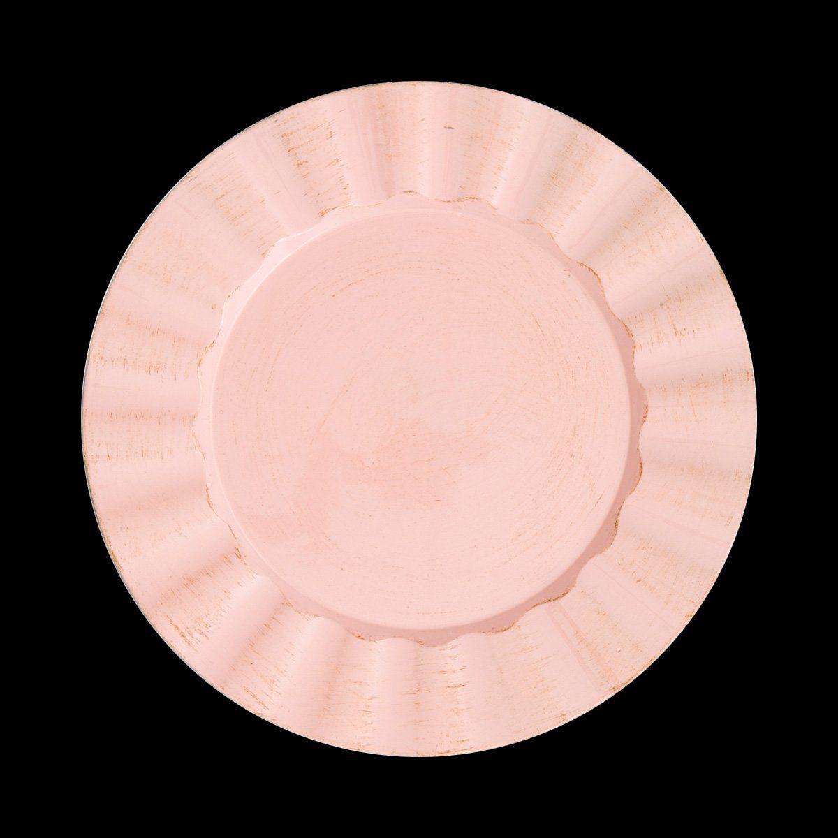 Jogo 6 peças Sousplat 33 cm de plástico rosa Cook Bon Gourmet - 30298