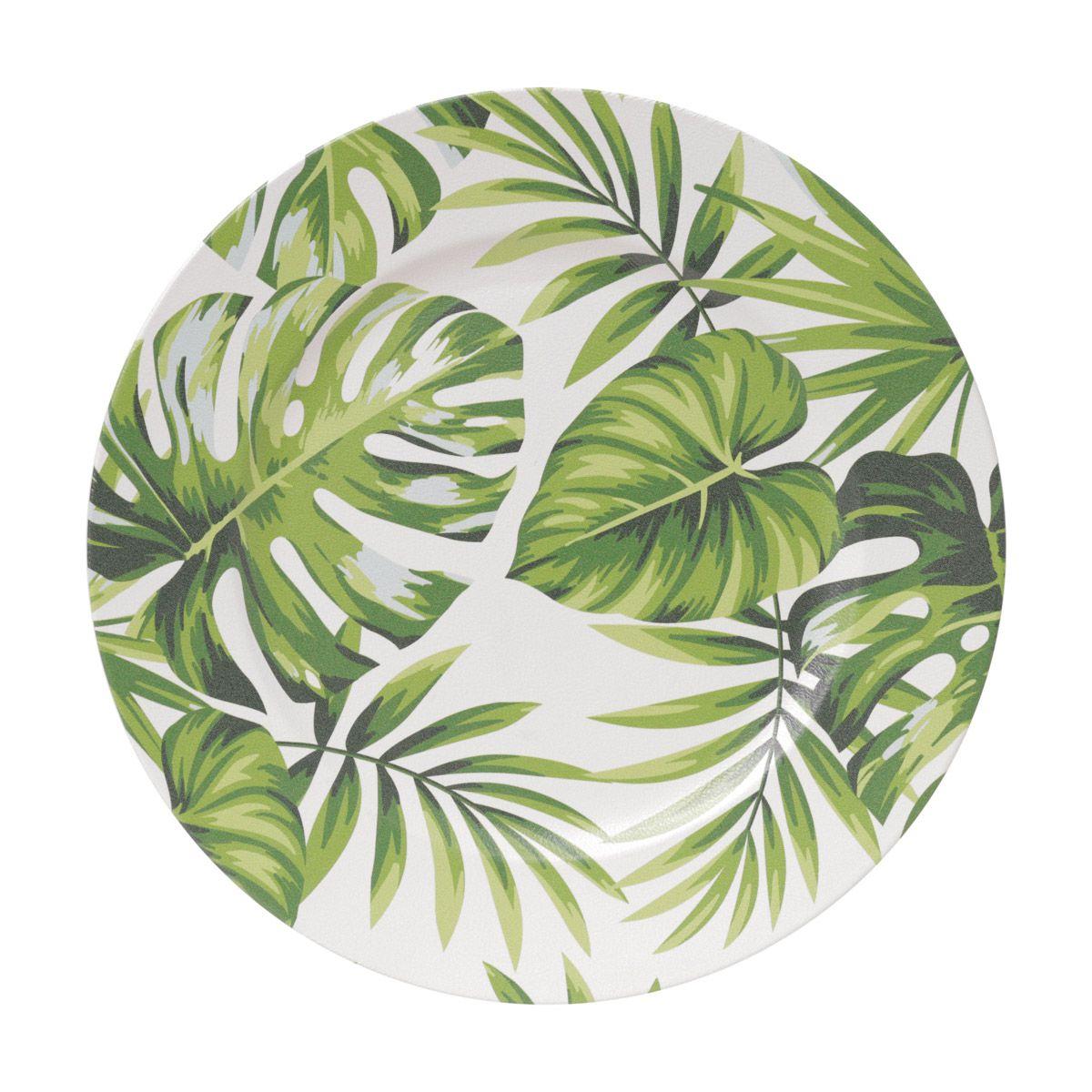 Jogo 6 peças Sousplat 33 cm de plástico verde e branco Leaf Lyor - L4295