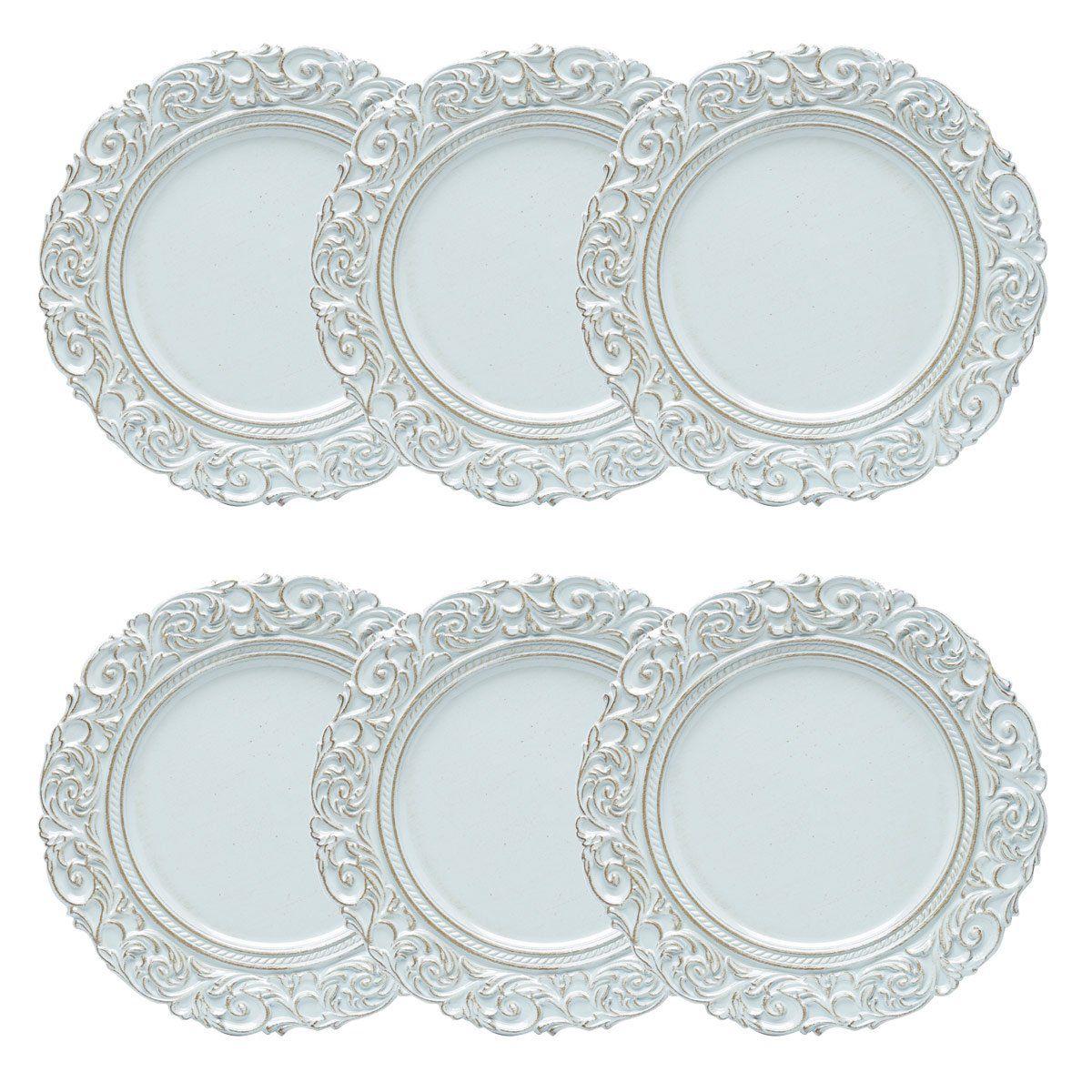 Jogo 6 peças Sousplat 35 cm de plástico azul e marrom Apolo Bon Gourmet - 30433