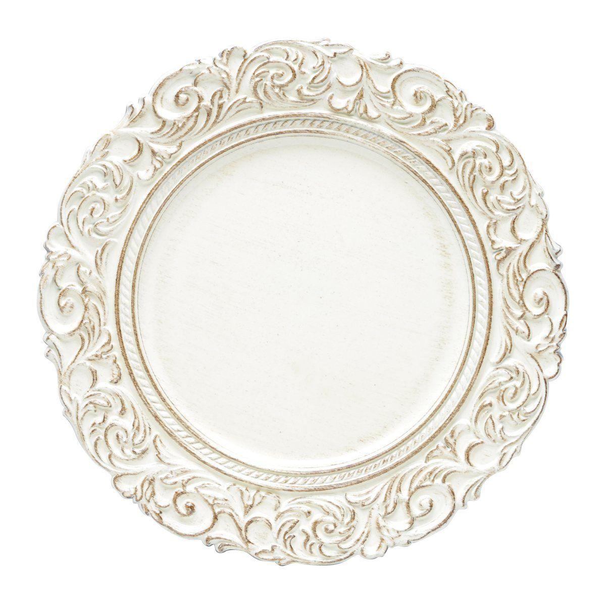 Jogo 6 peças Sousplat 35 cm de plástico marfim e marrom Apolo Bon Gourmet - 30431