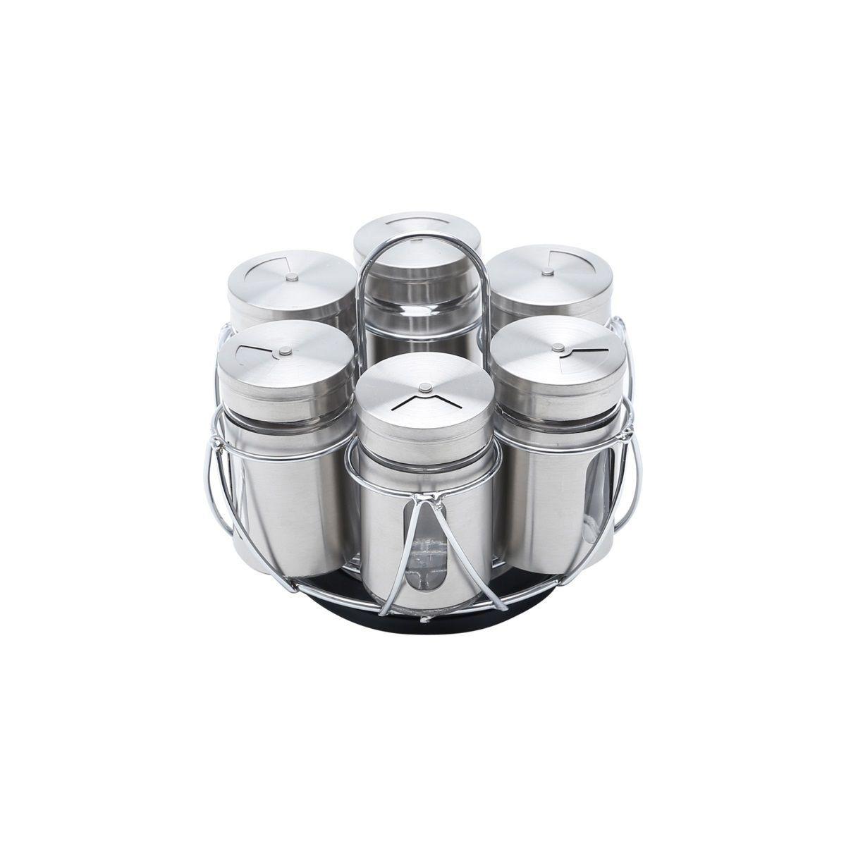 Conjunto 6 peças porta temperos de aço inox e vidro com suporte Pointer Bon Gourmet - 25795
