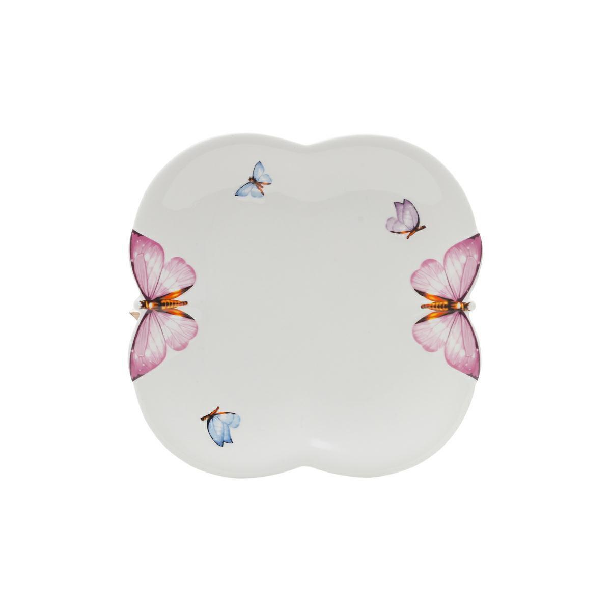 Jogo 6 pratos 19 cm para sobremesa de porcelana Borboletas Wolff - 1168