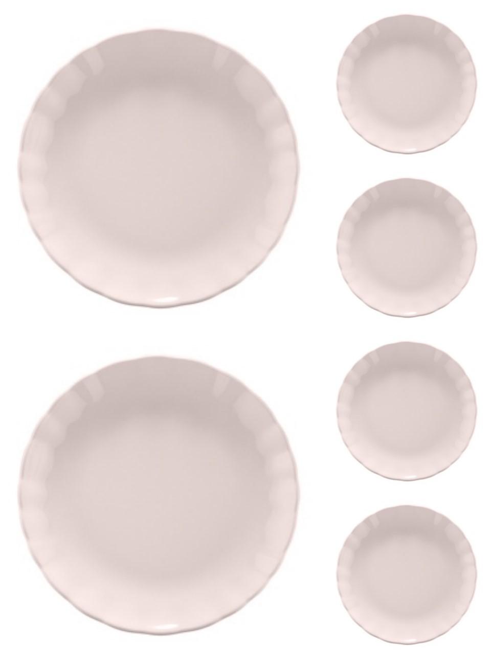 Jogo 6 pratos 19 cm para sobremesa de cerâmica Bergama Lilac  Wolff - 17524