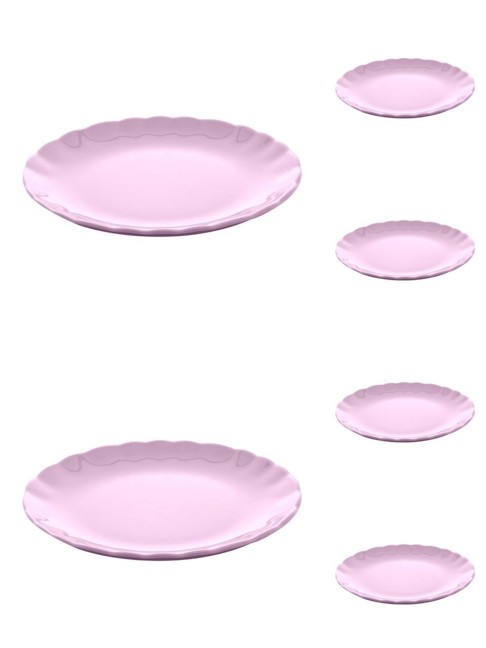 Jogo 6 pratos 19 cm para sobremesa de cerâmica Bergama Plum Wolff - 17530