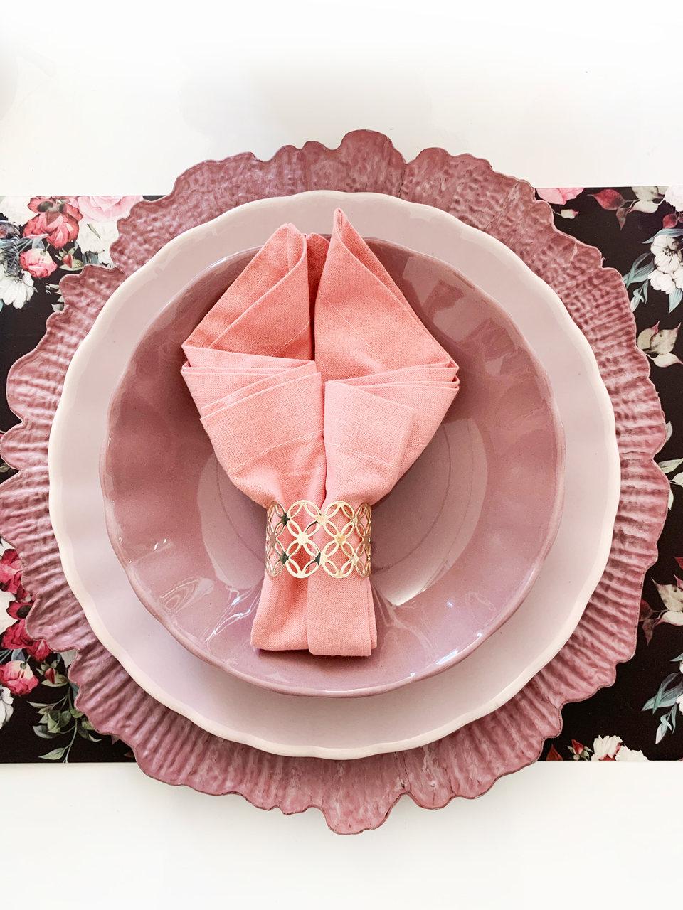 Jogo 6 pratos 20 cm fundo de cerâmica Bergama  Plum Wolff - 17532