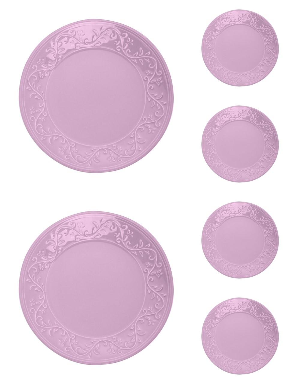 Jogo 6 pratos 20 cm para sobremesa de cerâmica Alanya Plum Wolff - 17498