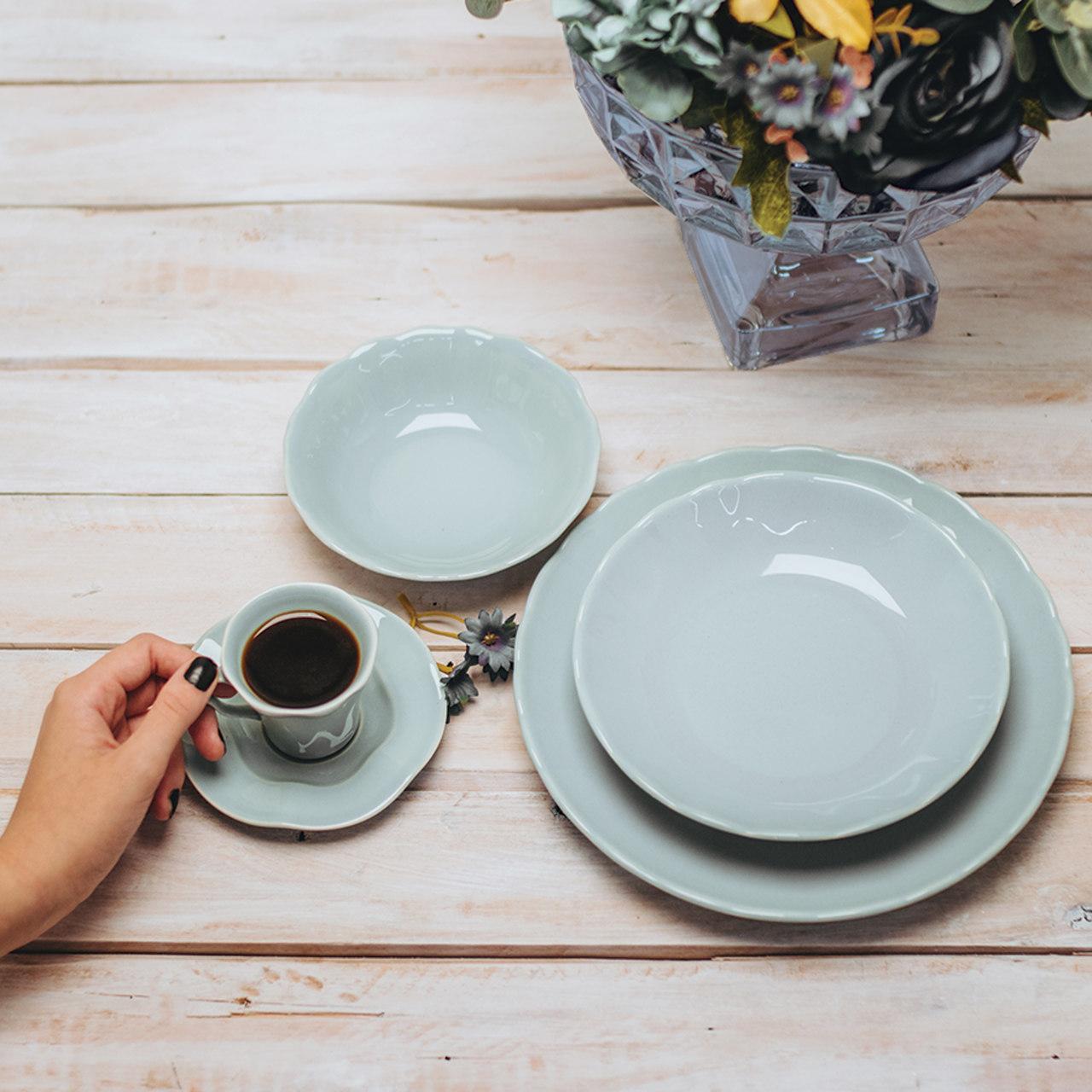 Jogo 6 pratos 19 cm para sobremesa de cerâmica Bergama Mint Wolff - 17518