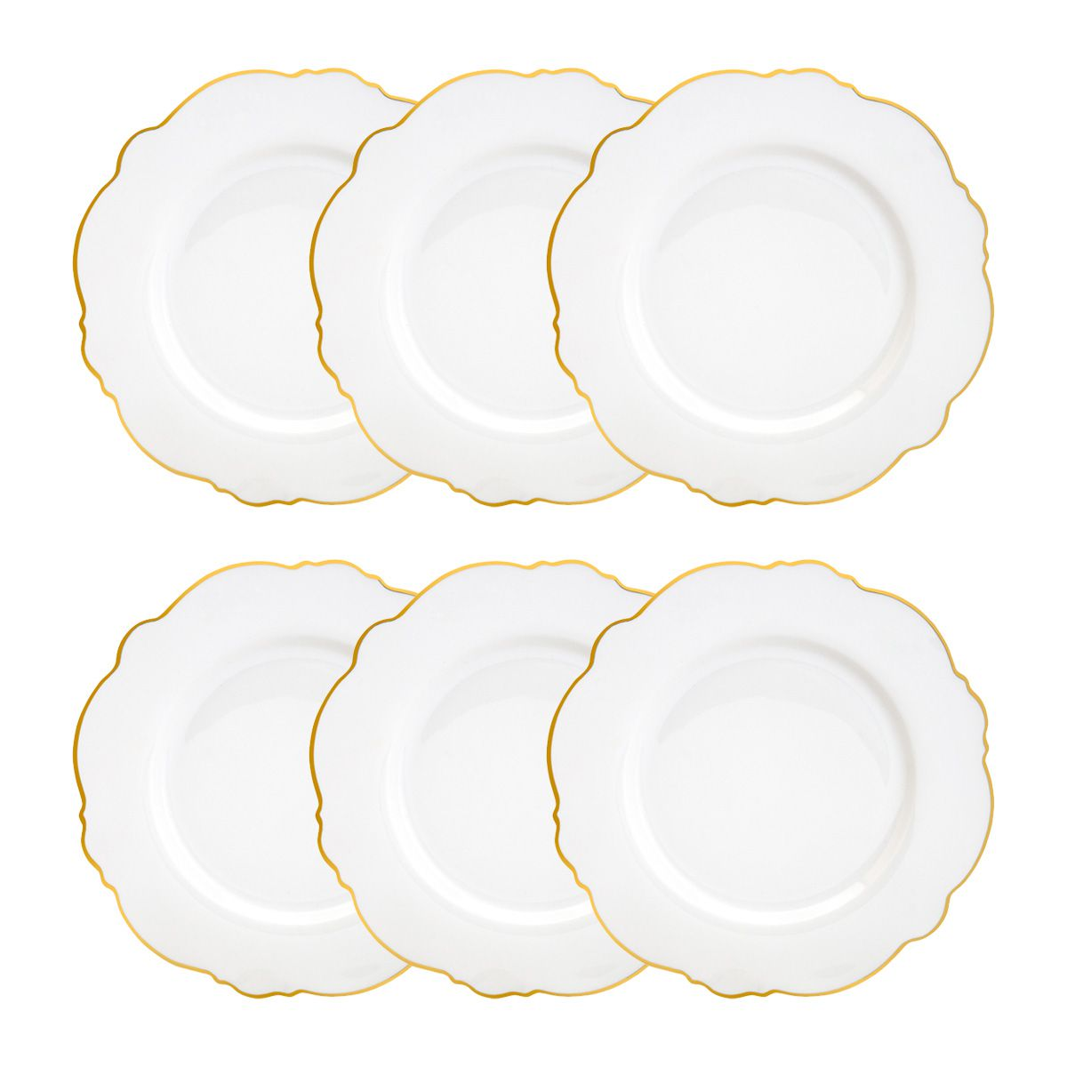 Jogo 6 pratos 21 cm para sobremesa de porcelana fio dourado New Bone Wolff - 35371