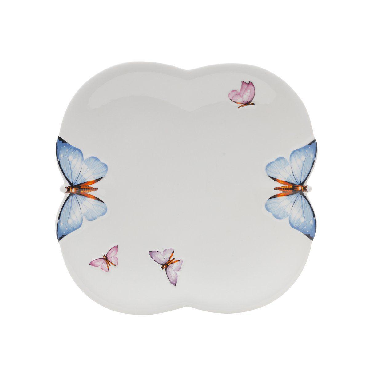 Jogo 6 pratos 26,5 cm de porcelana branca Borboletas Wolff - 1169
